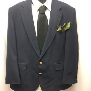 Stanford Blue Sport Coat 46R Gold Buttons Lined